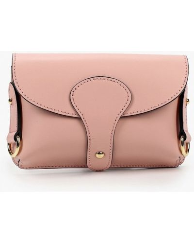 Розовая поясная сумка из натуральной кожи Lamania