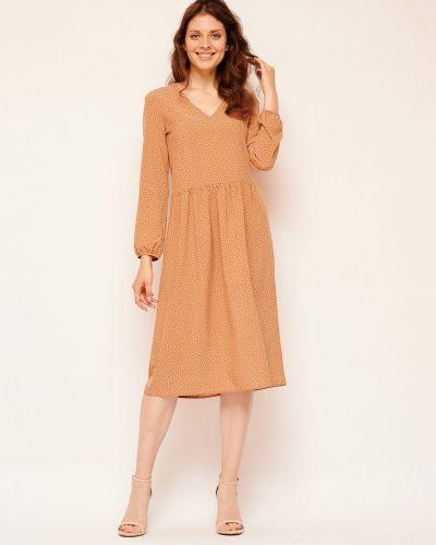 Повседневное шифоновое летнее платье с V-образным вырезом с длинными рукавами Fiato