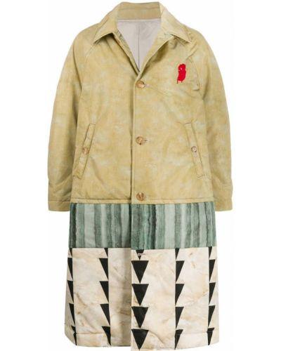 Однобортное бежевое пальто классическое с воротником Undercover