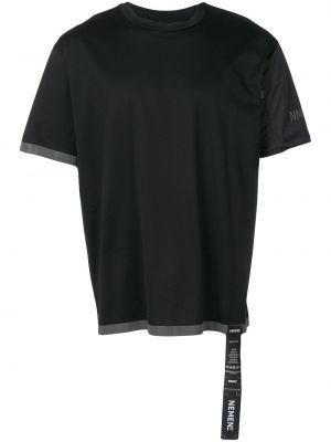 С рукавами хлопковая черная футболка с круглым вырезом Nemen