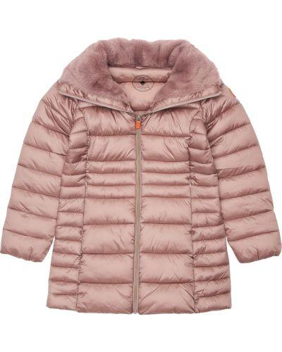 Розовая нейлоновая куртка на резинке с манжетами Save The Duck