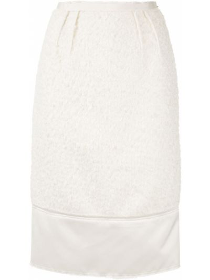Prążkowana spódnica midi z wysokim stanem wełniana N°21