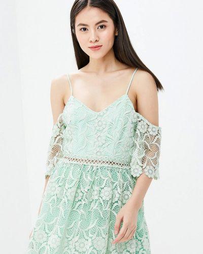 Зеленое платье с открытыми плечами True Decadence