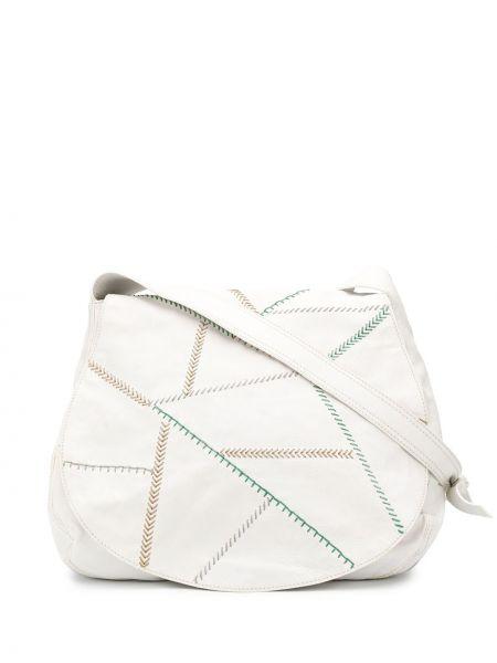 Белая шелковая кожаная сумка на молнии с карманами Emilio Pucci Pre-owned