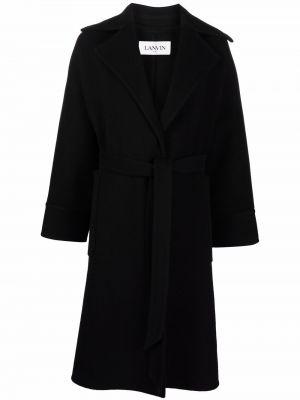 Черное шерстяное пальто Lanvin