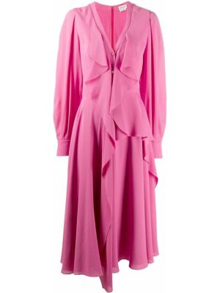Платье миди розовое на пуговицах Alexander Mcqueen