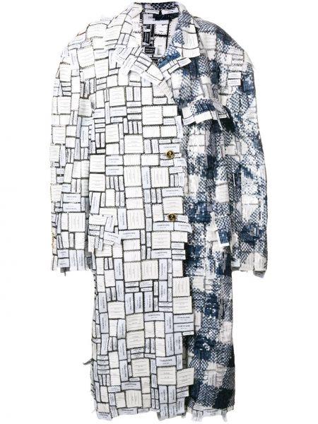 Белое пальто классическое оверсайз с пайетками на пуговицах Thom Browne