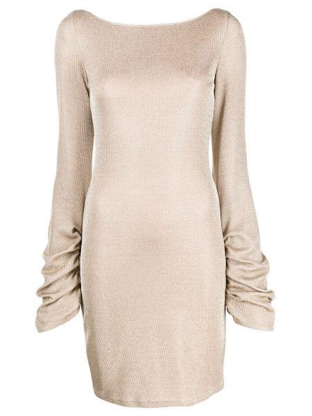 С рукавами облегающее платье золотое Just Cavalli