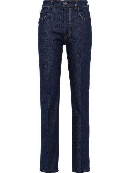 Кожаные с завышенной талией джинсы с нашивками с карманами Prada