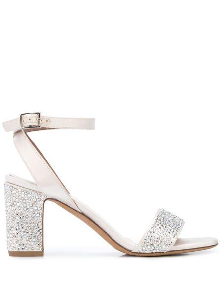 Białe sandały srebrne peep toe Tabitha Simmons