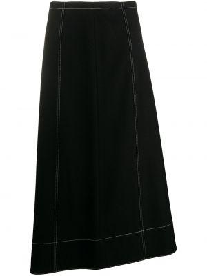 С завышенной талией асимметричная юбка миди на молнии с разрезом Jil Sander