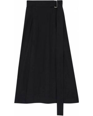 Сатиновая юбка миди - черная Victoria Beckham
