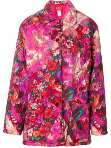 Стеганое пальто розовое с принтом Kenzo Pre-owned