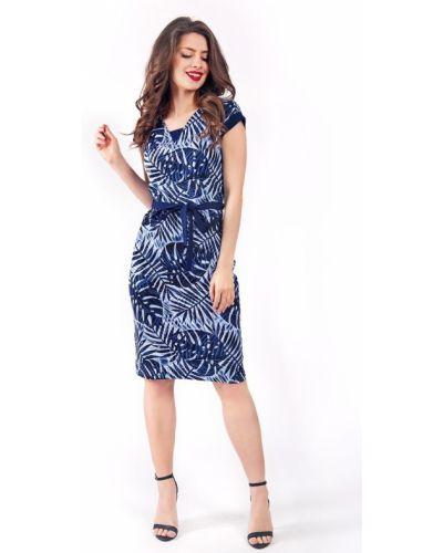 Голубое платье с поясом Helena