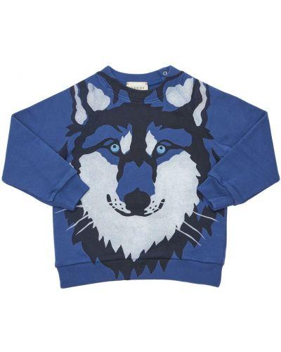 Bawełna niebieski bluza z kołnierzem z mankietami Gucci