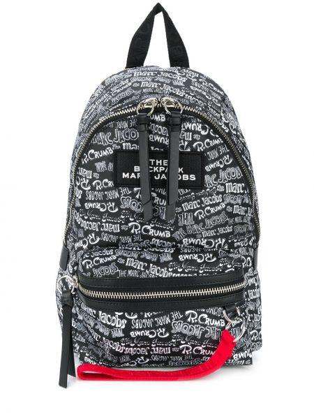 Z kieszeniami czarny plecak z łatami Marc Jacobs