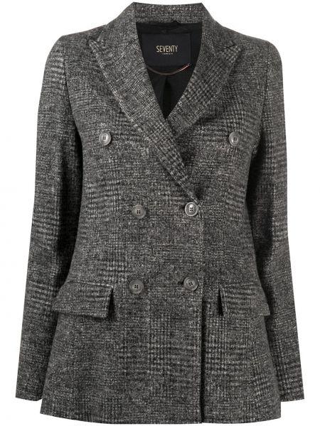 Шерстяной серый удлиненный пиджак двубортный Seventy