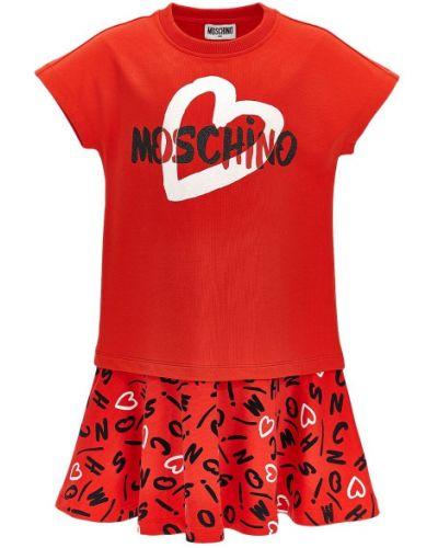 Sukienka bawełniana z printem Moschino