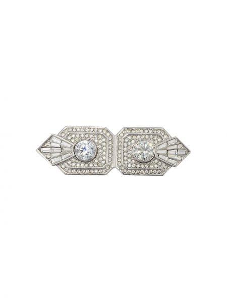 Broszka ze srebra kryształ szary Christian Dior Pre-owned