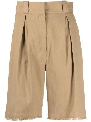 Хлопковые с завышенной талией шорты с карманами Antonelli