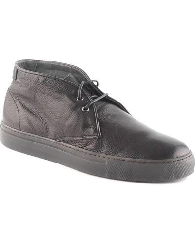 Кожаные ботинки осенние черные Alberto Guardiani