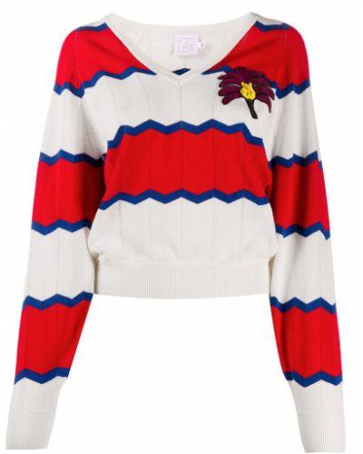 С рукавами хлопковый красный джемпер с V-образным вырезом Stella Jean