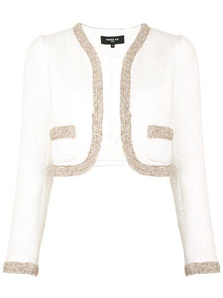 Хлопковый с рукавами белый удлиненный пиджак без застежки Paule Ka