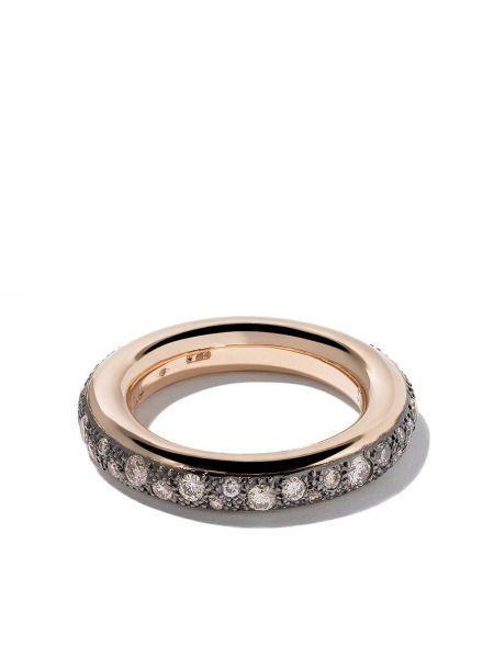 С ромбами кольцо золотое с бриллиантом Pomellato