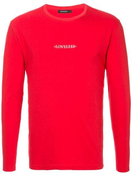 Красная хлопковая футболка с круглым вырезом с длинными рукавами Loveless