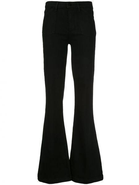 Расклешенные джинсы черные на пуговицах Paige
