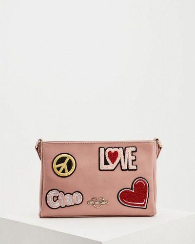 Кожаная сумка через плечо розовый Love Moschino