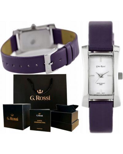 Klasyczny biały zegarek na skórzanym pasku srebrny Gino Rossi
