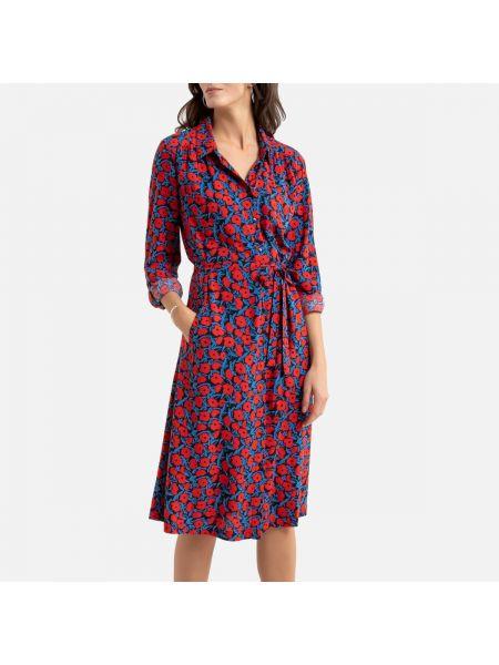 Платье с поясом на пуговицах с цветочным принтом La Redoute