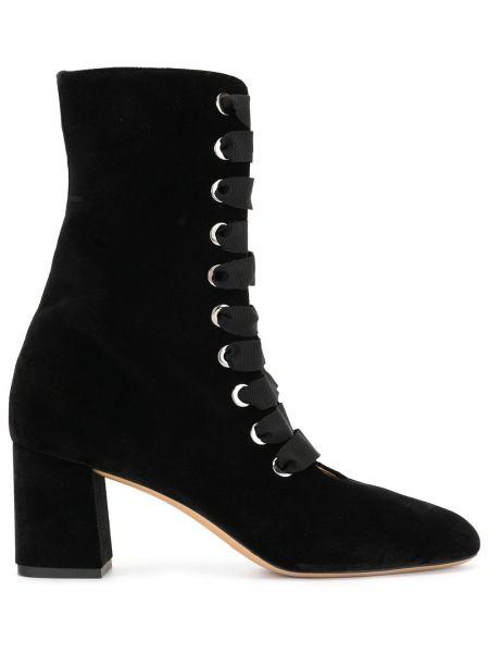 Бархатные черные ботинки на каблуке на каблуке на шнуровке Le Monde Beryl