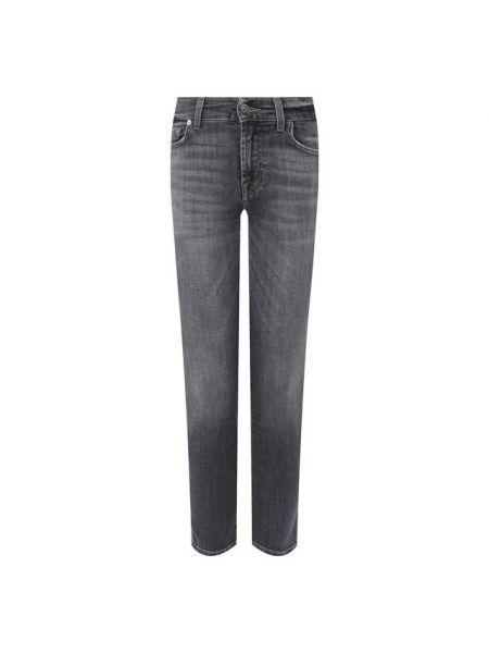 Хлопковые серые джинсы 7 For All Mankind