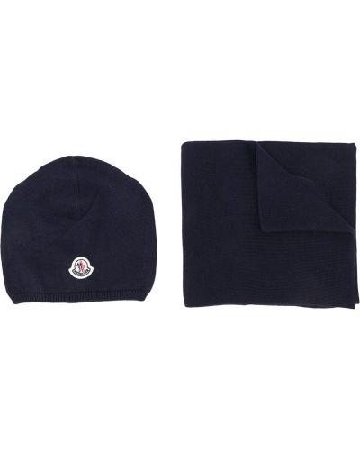 Темно-синяя шапка Moncler Kids
