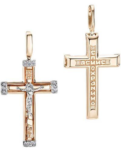 Золотистый серебряный крест с бриллиантом Imperial