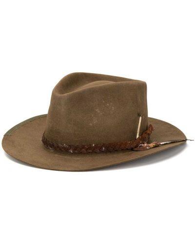 Коричневая шляпа с широкими полями свободного кроя Nick Fouquet