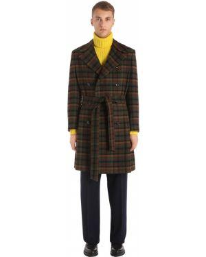 Zielony płaszcz wełniany z paskiem Mp Massimo Piombo