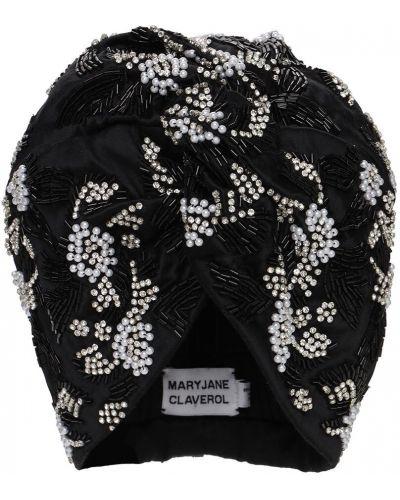 Akryl czarny turban z perłami Mary Jane Claverol