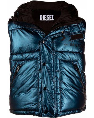 Niebieska kamizelka sportowa pikowana oversize Diesel