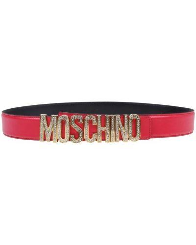 Pasek skórzany w paski z paskiem Moschino