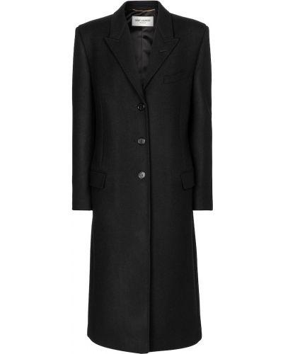 Шерстяное черное пальто Saint Laurent