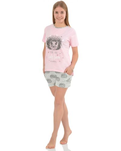 Пижама с шортами с карманами трикотажная Грандсток