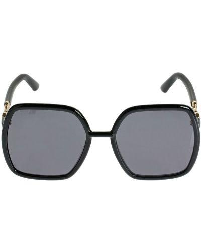 Czarny okulary przeciwsłoneczne przeoczenie Gucci