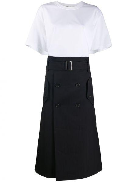 Niebieska sukienka midi krótki rękaw wełniana Junya Watanabe
