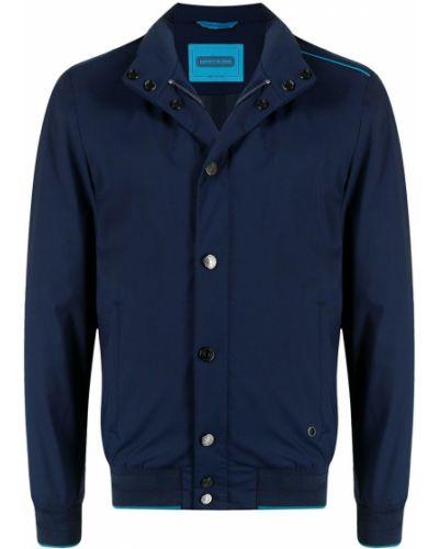 Шерстяная синяя длинная куртка с длинными рукавами Stefano Ricci