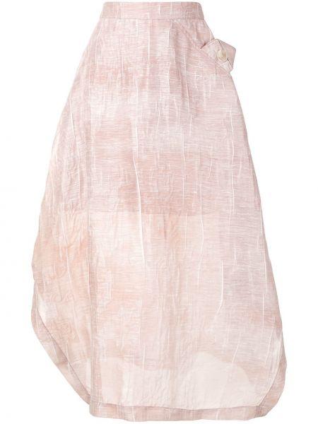 Юбка миди с завышенной талией розовая Emporio Armani