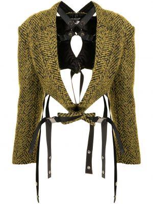 Желтый удлиненный пиджак твидовый с лацканами Junya Watanabe