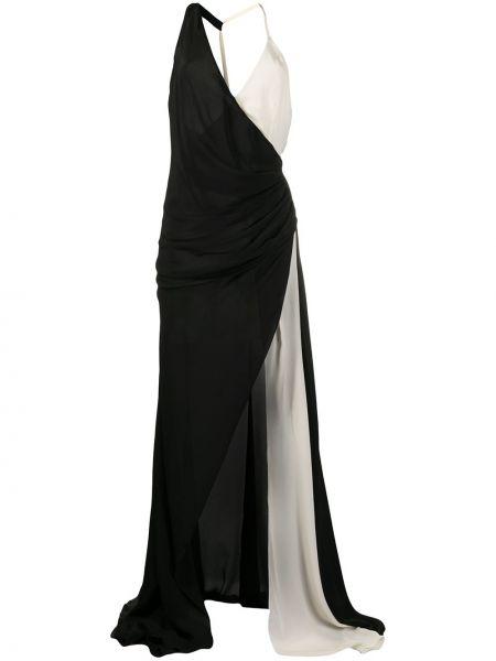 Шелковое черное платье с V-образным вырезом с драпировкой Redemption